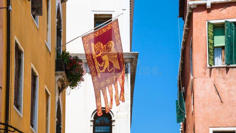 威尼斯式共和国旗子在威尼斯市 免版税库存照片