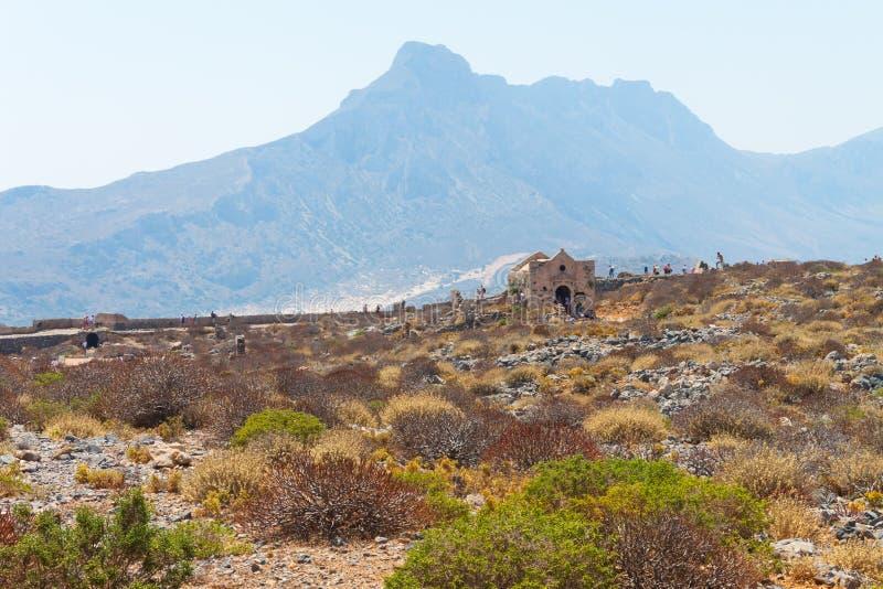 威尼斯式堡垒的废墟在格拉姆武萨群岛海岛上的 免版税库存照片