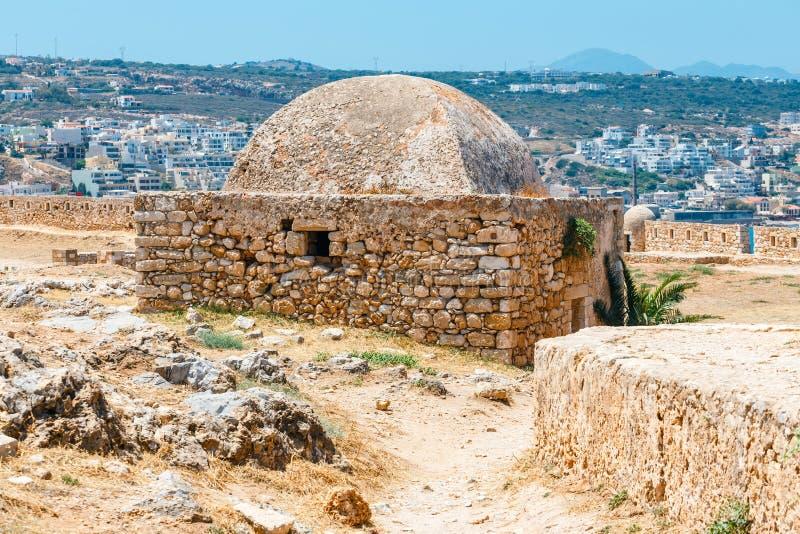 威尼斯式堡垒Fortezza在克利特海岛,希腊上的罗希姆诺 免版税库存照片
