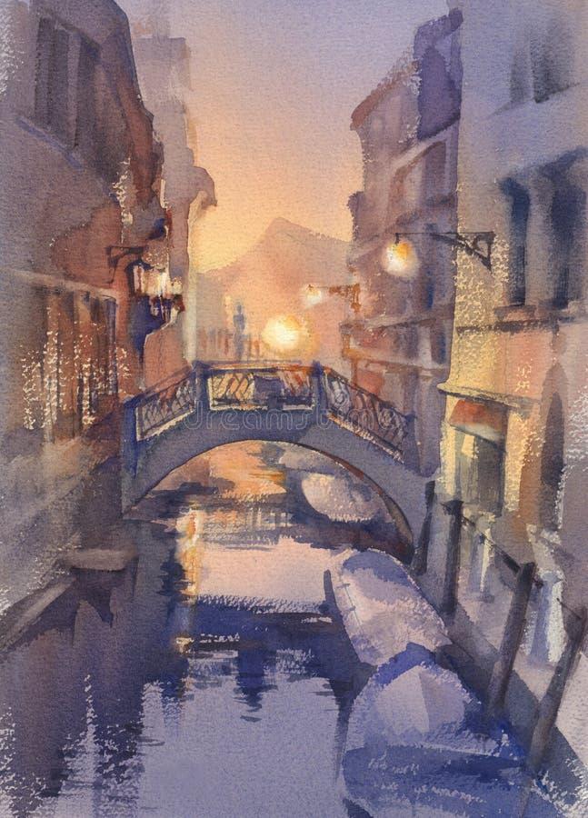 威尼斯式夜光水彩风景 有长平底船的一条运河在桥梁下 向量例证