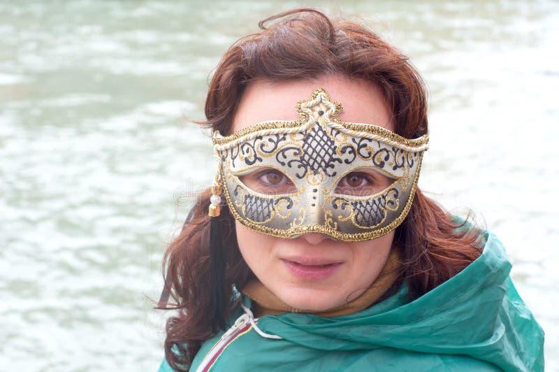 威尼斯式女孩的屏蔽 库存照片