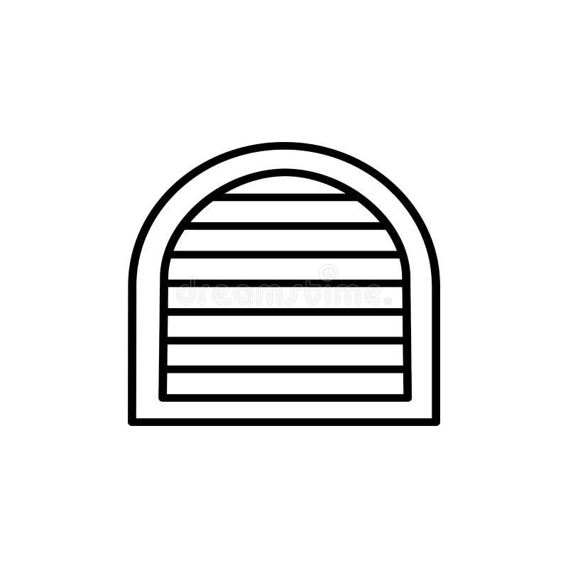 威尼斯式帷幕快门的黑&白色传染媒介例证 线曲拱窗口水平的瞎的百叶窗象  查出的对象 库存例证