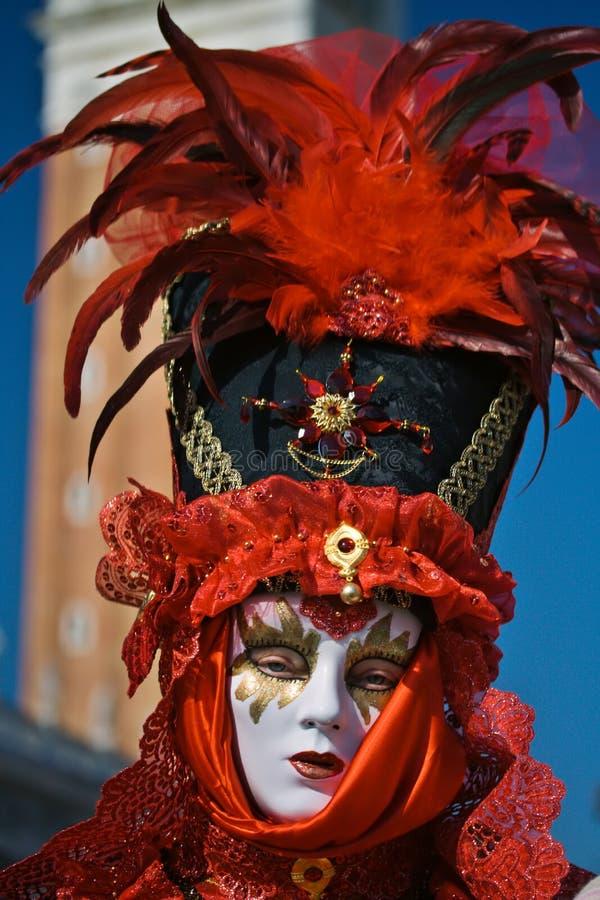 威尼斯式帽子的化装跳舞者 库存图片