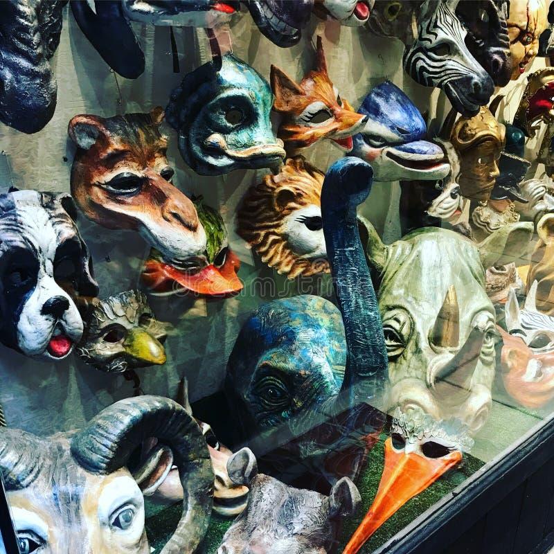 威尼斯式狂欢节的,威尼斯,意大利手工制造皮革动物面具 免版税库存照片