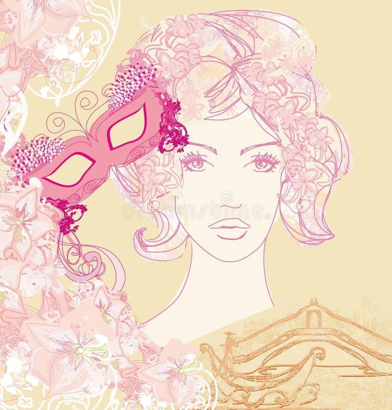 威尼斯式狂欢节-美丽的妇女、面具和长平底船 皇族释放例证