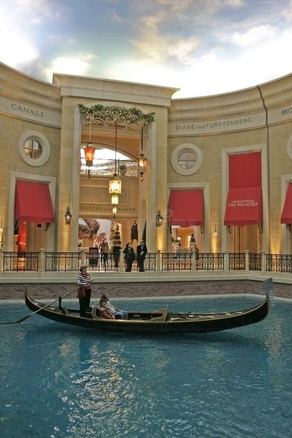 威尼斯式的赌博娱乐场 一墩大运河的威尼斯式旅馆和复制品在拉斯维加斯 免版税库存图片