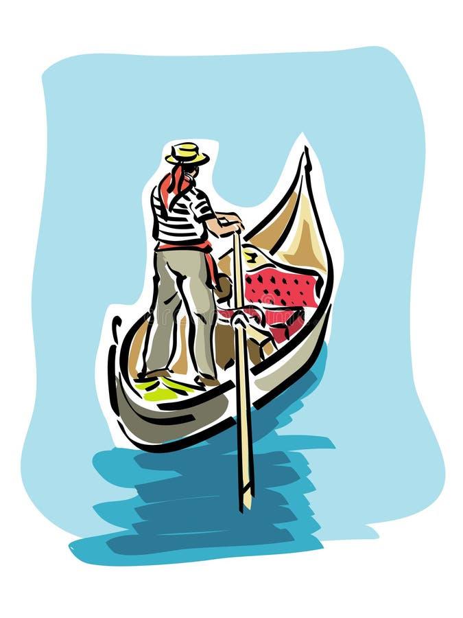 威尼斯式的长平底船 皇族释放例证