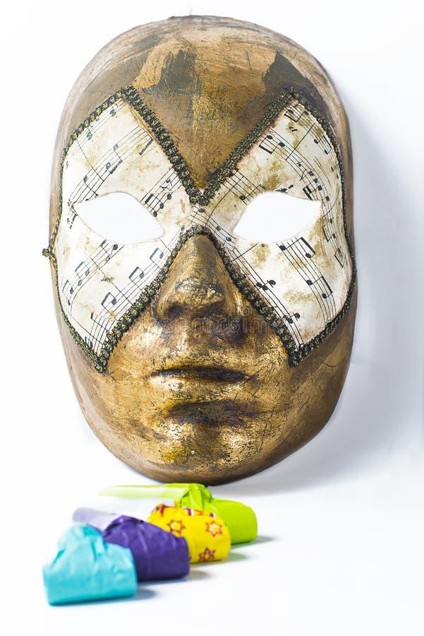威尼斯式面具和吹风机 免版税图库摄影