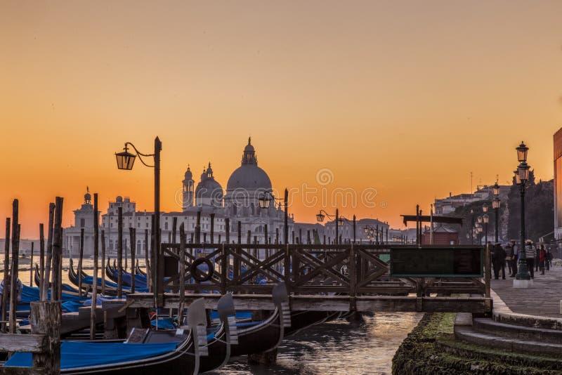 威尼斯意大利日落视图  免版税图库摄影