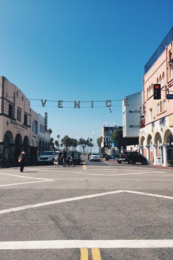 威尼斯海滩加利福尼亚标志 免版税图库摄影
