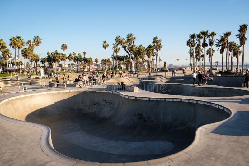 威尼斯海滩Skatepark,著名的worlwide 库存图片