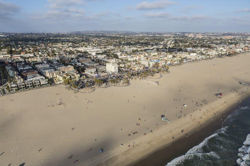 威尼斯海滩沙子鸟瞰图 库存图片
