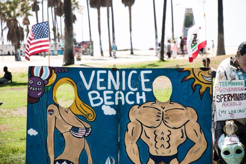 威尼斯海滩,美国-威尼斯海滩洋锋步行  免版税库存图片