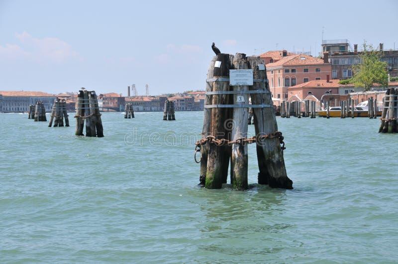 威尼斯港务局停泊运河德拉朱代卡岛 图库摄影