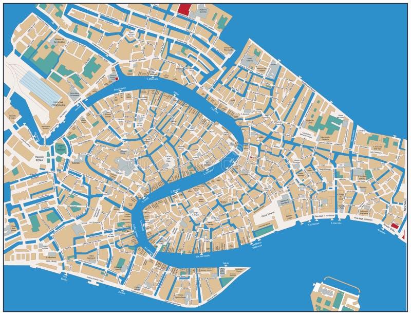 威尼斯街道地图 库存例证