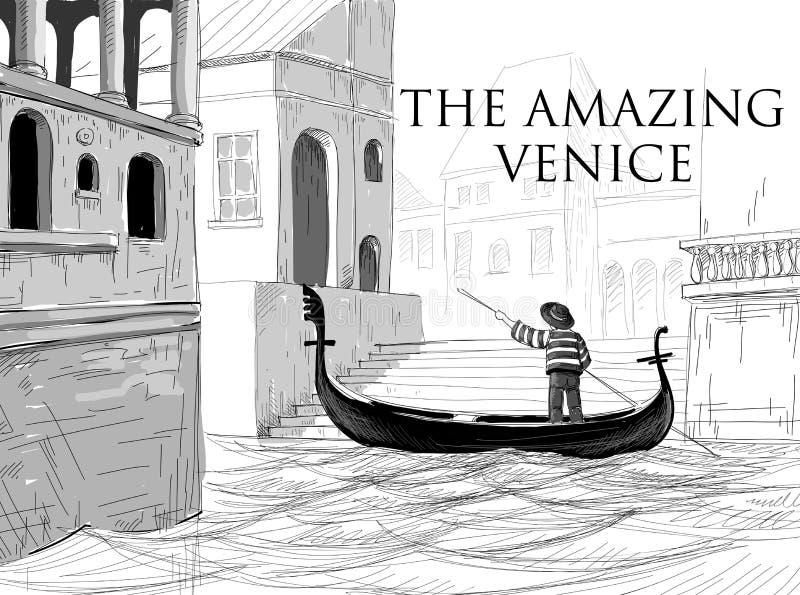 威尼斯运河,长平底船剪影 向量例证