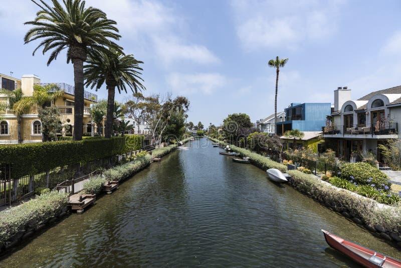 威尼斯邻里运河在洛杉矶加利福尼亚 库存照片