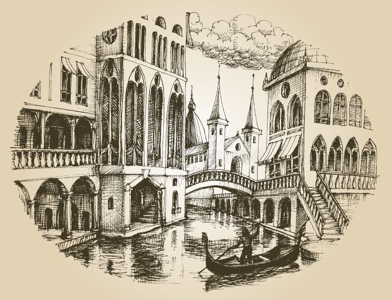 威尼斯长平底船 向量例证