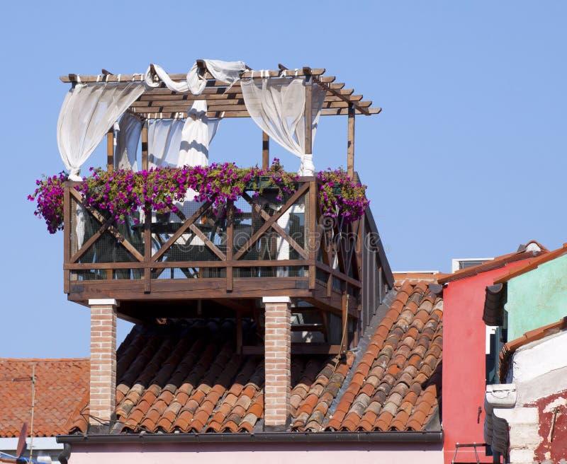 威尼斯,在屋顶的大阳台 库存图片