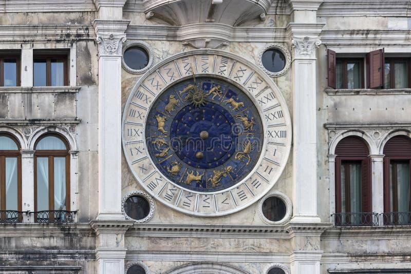 威尼斯,意大利圣标记的天文学时钟, 图库摄影