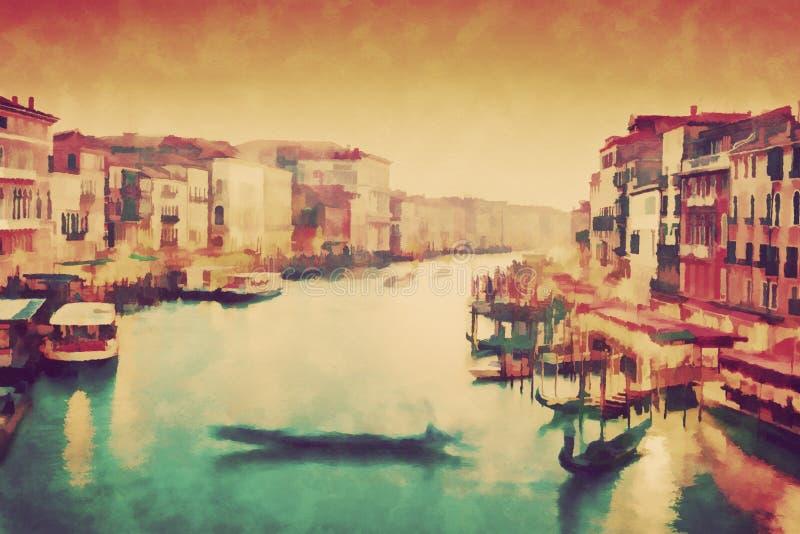 威尼斯,意大利葡萄酒绘画  长平底船在大运河漂浮 向量例证