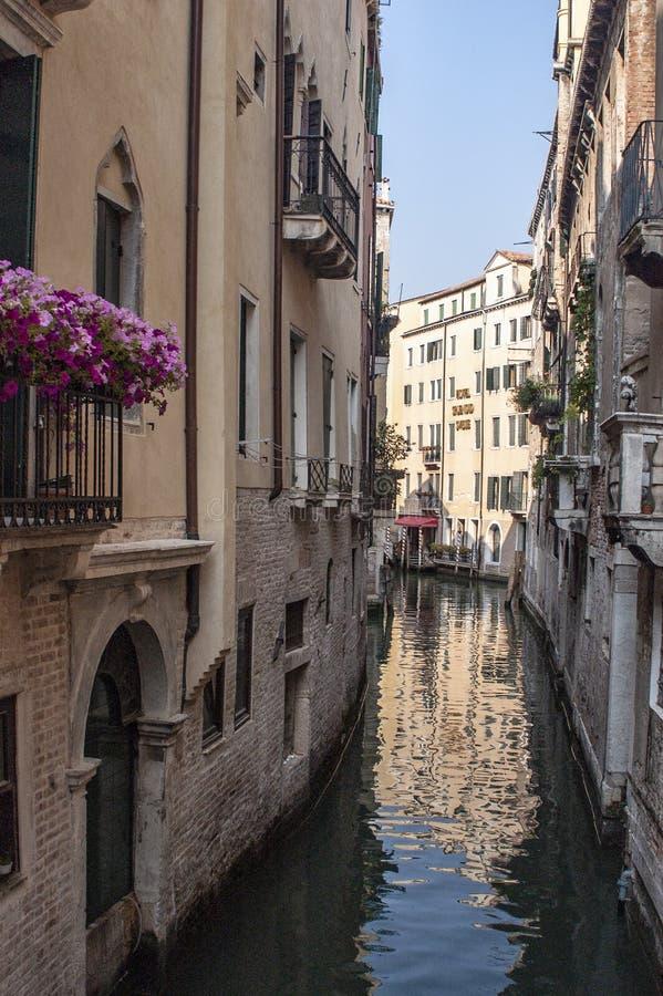 威尼斯,意大利运河和花在阳台 图库摄影