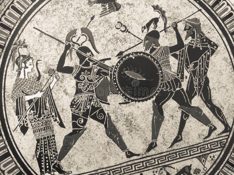 威尼斯,意大利- 2017年7月02日:从老历史希腊油漆的细节在盘 神话战斗对此的英雄和神 库存图片