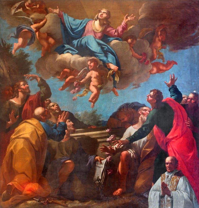 威尼斯-圣母玛丽亚油漆的做法在Burano海岛上的圣马蒂诺教会或圣马丁里 库存照片