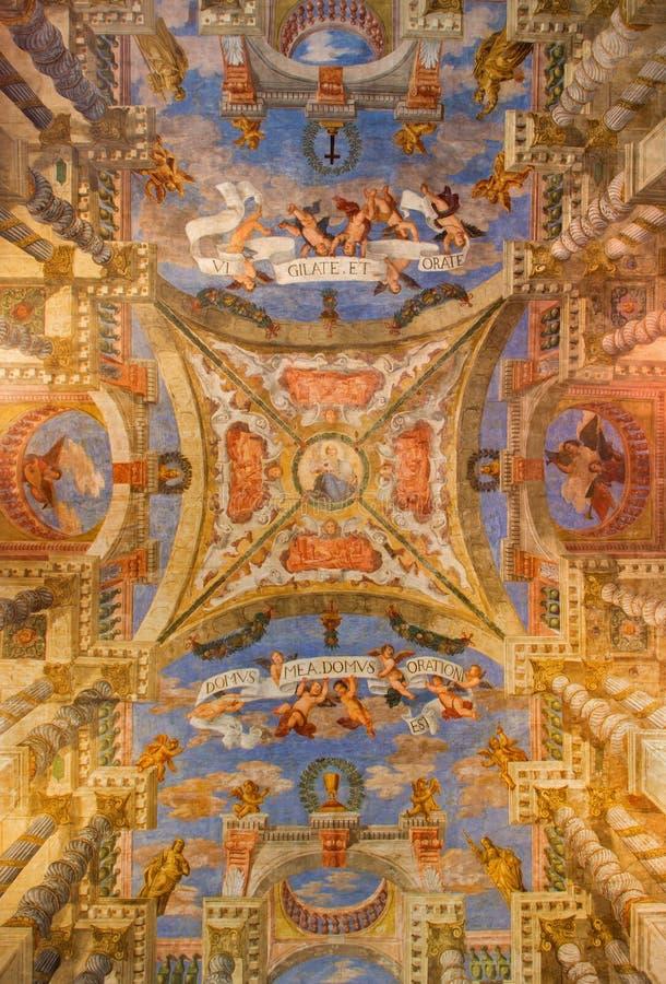 威尼斯-从教会基耶萨di Sant Alvise的壁画 库存图片