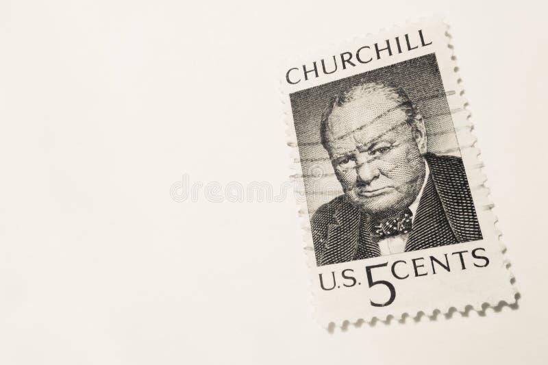 威尼斯- 5月01 :美国5分使用了与温斯顿・丘吉尔(美国的邮票 图库摄影