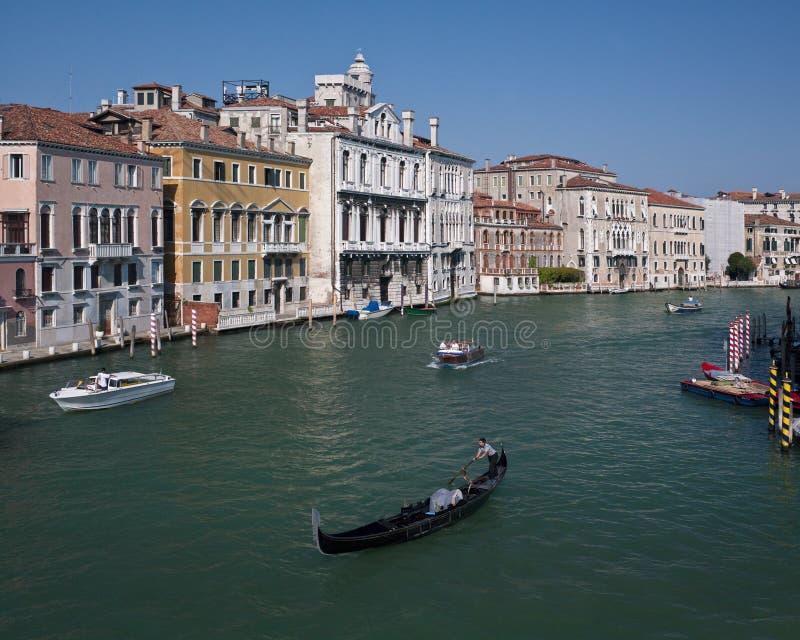 威尼斯-长平底船-大运河-意大利 免版税图库摄影