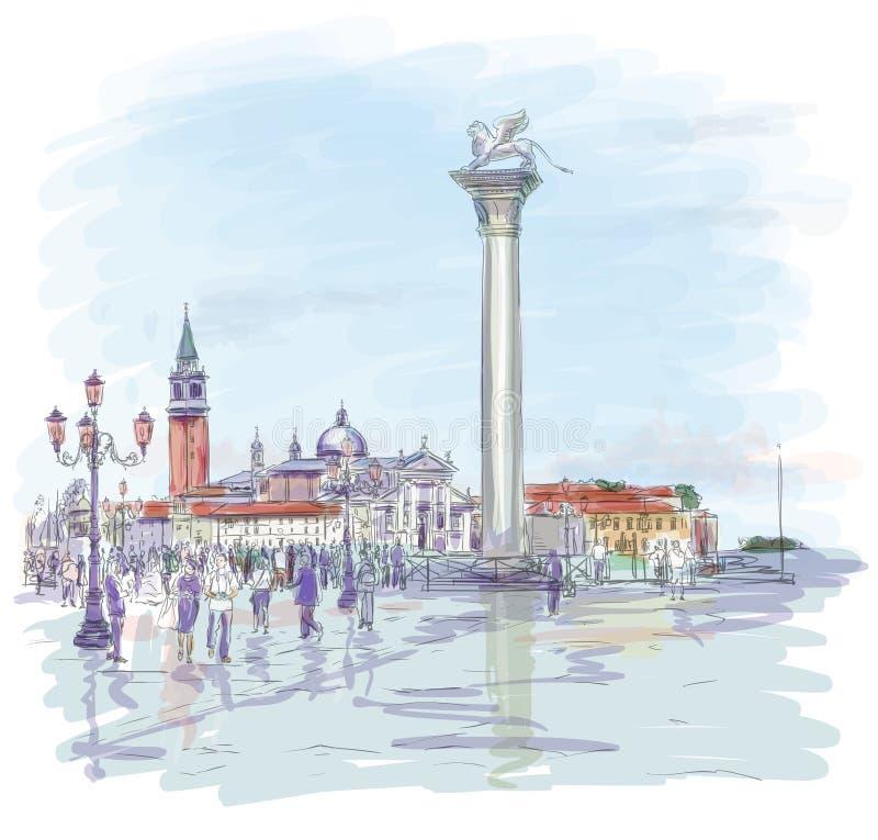 威尼斯 marco广场圣 库存例证