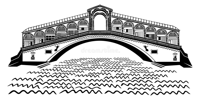 威尼斯- Rialto桥梁-大运河 库存照片