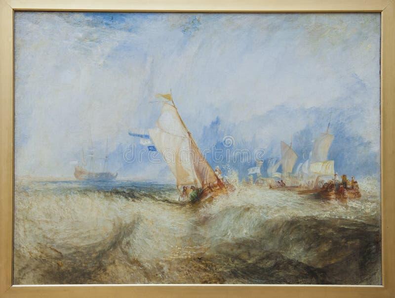 威廉特纳,海上, 1844,格蒂中心的船 向量例证