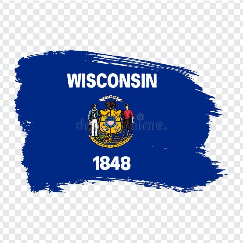 威斯康辛旗子从刷子冲程的 ?? 在透明背景的旗子威斯康辛您的网站设计的 向量例证