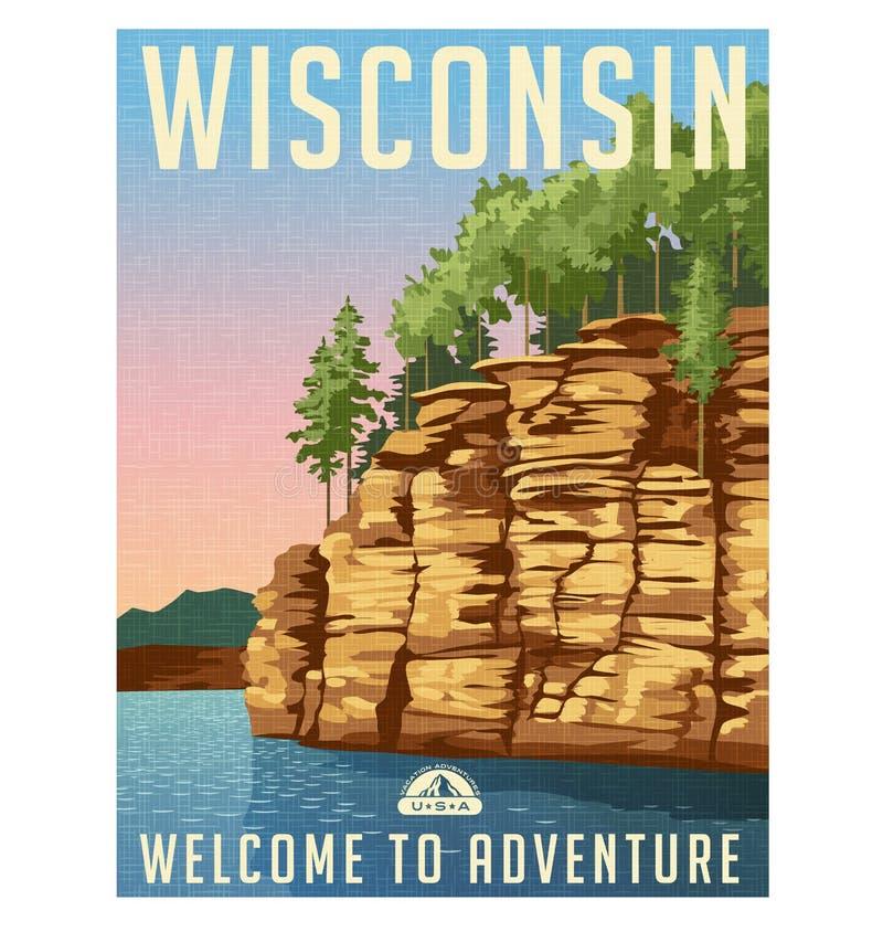威斯康辛,美国旅行海报 库存例证