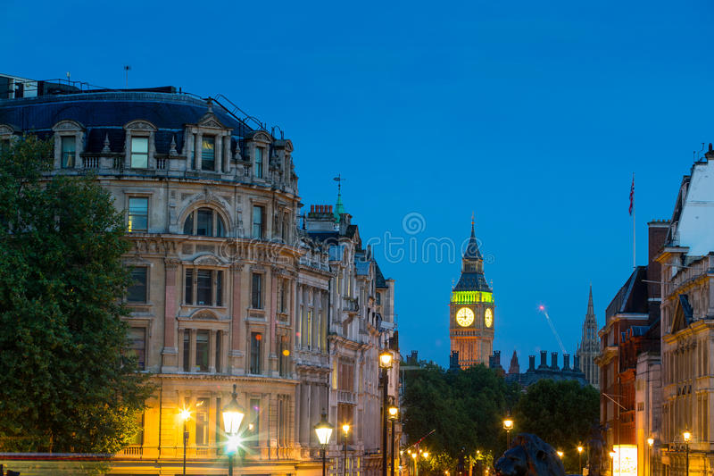 威斯敏斯特宫大本钟在晚上,伦敦,英国,英国 图库摄影