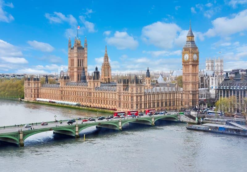 威斯敏斯特宫殿和大本钟,伦敦,英国 库存照片