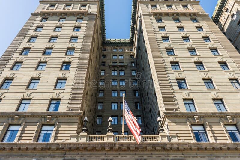 威斯汀圣弗朗西斯旅馆的门面的细节联合广场的在旧金山,加利福尼亚,美国 库存照片