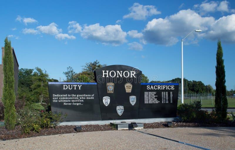 威明顿, NC美国8月26,2014 :威明顿警察局纪念品墙壁 免版税库存照片
