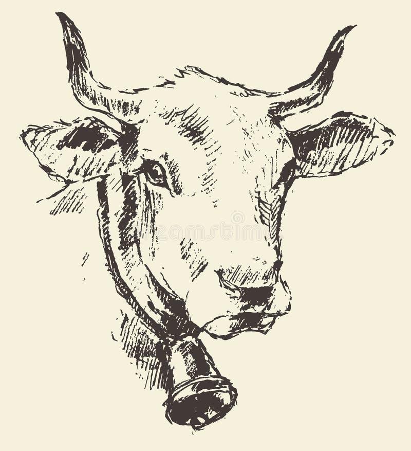 威胁有响铃荷兰牛品种被画的剪影的头 向量例证