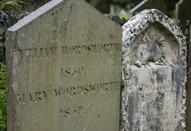 威廉・华兹华斯墓碑在Grasmere 库存图片