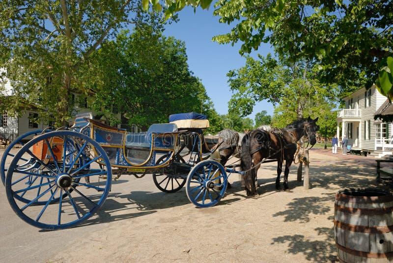 威廉斯堡马和支架 免版税库存照片
