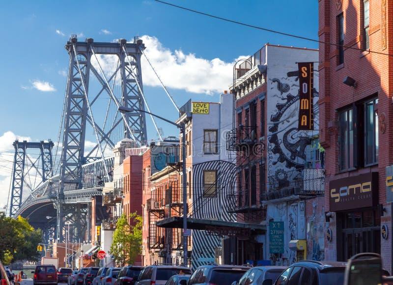 威廉斯堡邻里在布鲁克林,纽约 免版税库存图片