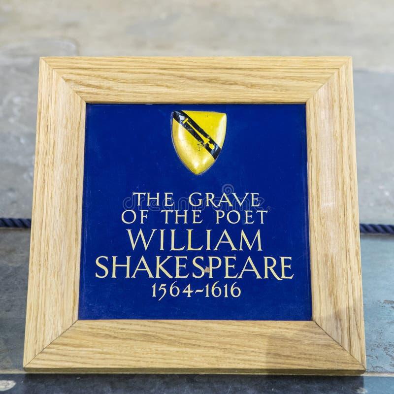 威廉・莎士比亚坟墓在斯特拉福在Avon 库存图片