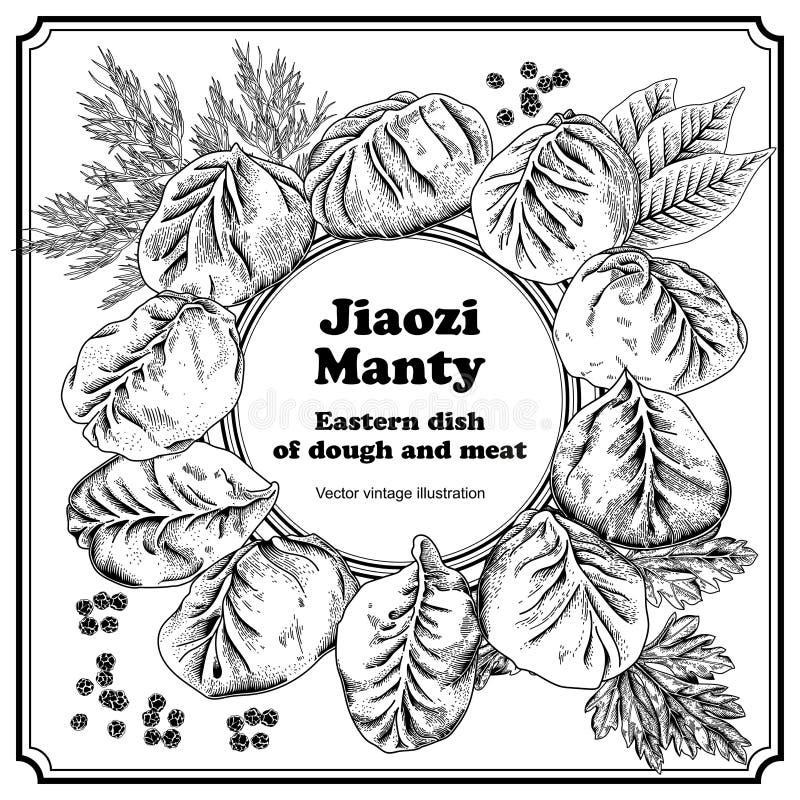 娇子队 Manty 肉饺子 竹子断送膳食国家牌照地毯海鲜棍子 库存例证