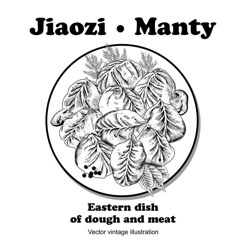 娇子队 Manty 肉饺子 竹子断送膳食国家牌照地毯海鲜棍子 皇族释放例证