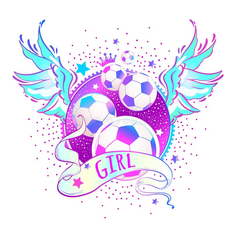 娘儿们样式美好的高详细的橄榄球商标 在桃红色霓虹颜色的传染媒介例证 Feminisn概念 印刷品,海报 库存例证