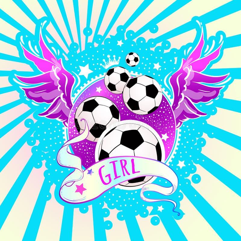 娘儿们样式美好的高详细的橄榄球商标 导航在桃红色和蓝色霓虹颜色的例证 Feminisn概念 皇族释放例证