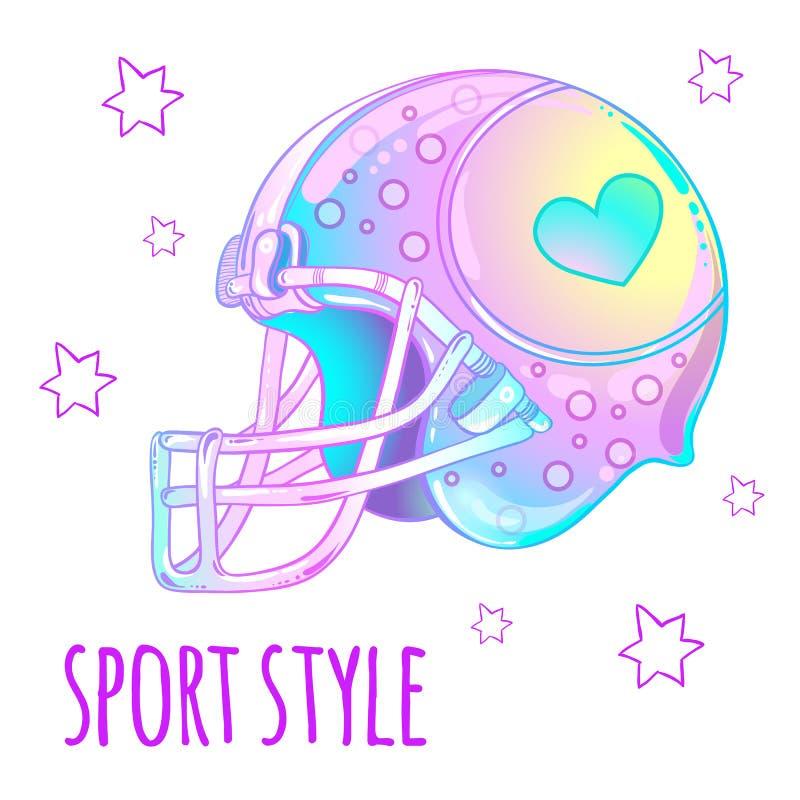 娘儿们美丽的高详细的橄榄球盔甲 在桃红色淡色的传染媒介例证 体育样式设计 库存例证
